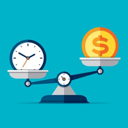 Time is money. Scales icon in flat style. Libra symbol, balance sign. Time management. Dollar and clock icons. Vector design elements for you business projects on color background
