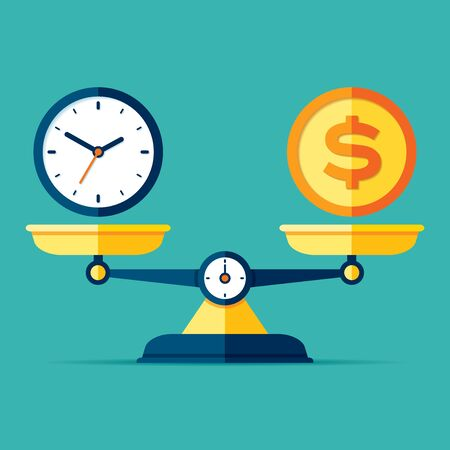 Time is money. Scales icon in flat style. Libra symbol, balance sign. Time management. Dollar and clock icons. Vector design elements for you business projects on color background Illusztráció