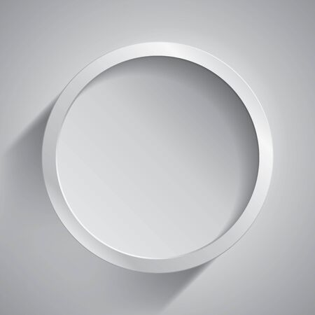 Realistic empty round white frame on gray background, border for your creative project, mock-up sample, vector design object Banque d'images - 140124417