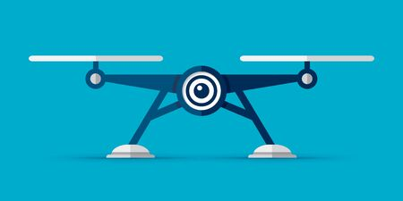 Drone icon inf flat style illustration. Modern gadget on color background. Vector object for you project  イラスト・ベクター素材