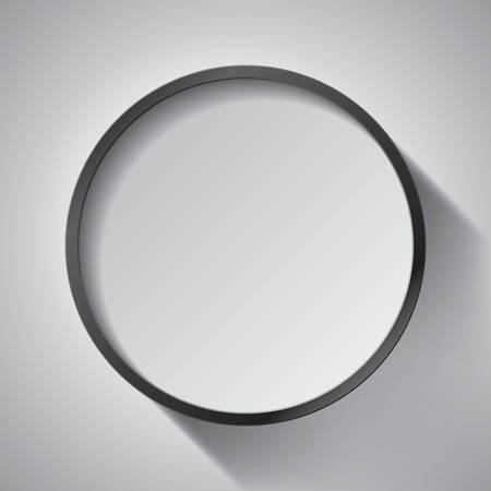 Realistic empty round black frame on gray background, border for your creative project, mock-up sample, design object