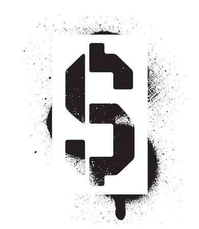 Stencil Dollar sign inscription. Black graffiti print on white background. Vector design street art
