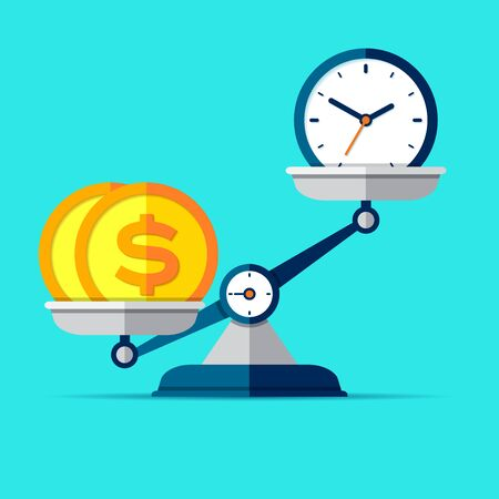 Time is money. Scales icon in flat style. Libra symbol, balance sign. Time management. Dollar and clock icons. Vector design elements for you business projects on color background Çizim