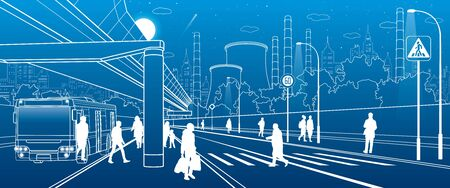 Development modern city infrastructure. People walking at the street. Illuminated highway. Factory thermal power plant. Night town scene. White lines on blue background. Vector design art