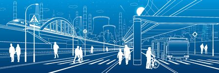 Development modern city. People walking at the street. Illuminated highway. Transport infrastructure. Factory thermal power plant. Night town scene. White lines on blue background. Vector design art