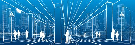People walk under the car overpass. Large highway. Modern night town. Outline Urban scene. Big bridge. Industrial illustration. White lines on blue background. Vector design art Illusztráció