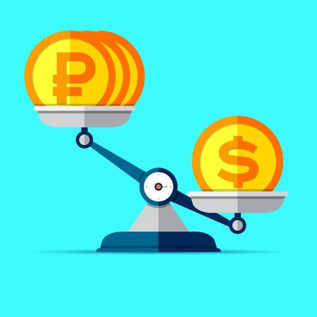 The ratio of the exchange rate. Preponderance of dollar against ruble. Money icons on libra in flat style. Scales symbol, balance sign. Vector business elements for you project