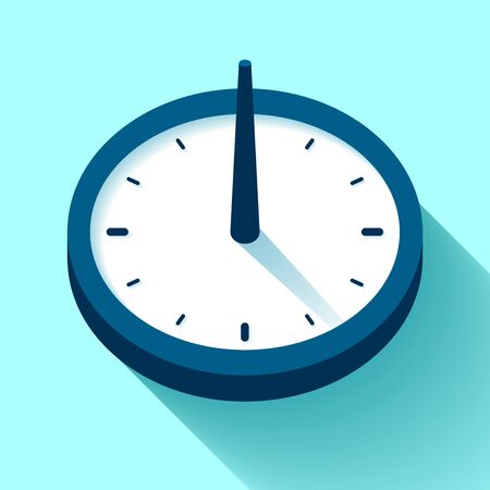 Sundial Clock icon in flat style, timer on color background. Retro watch. design element for you project