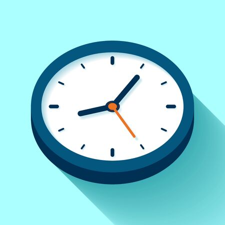 Clock icon in flat style, timer on color background. Business watch. design element for you project