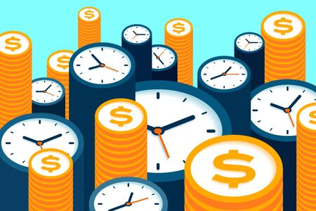 Clock and dollar icons in flat style, timers and money sign on color background. Time management. More watch and coin. Business vector illustration for you presentation