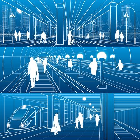 Set of city transport infrastructure illustrations. Street and in underground scene. People urban life. Outline images for your project.