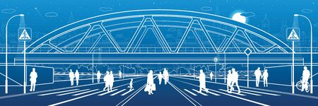 People walk to crosswalk under the railroad bridge. Large highway. Modern night town. Outline Urban scene. Industrial illustration. White lines on blue background. Vector design art