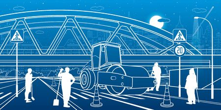 Road repair under the railroad bridge. Service highway. Modern night town. Outline Urban scene. Industrial transport illustration. White lines on blue background. Vector design art