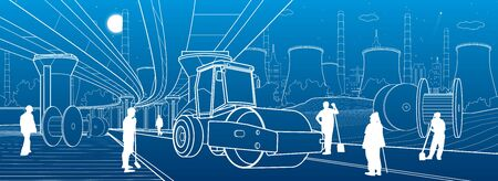 City infrastructure illustration. Road repair, service highway. Power plant at background. Construction site builders. Outline Urban scene. White lines on blue background. Vector design art