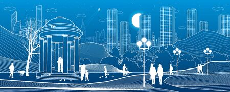 Illustration of urban rest in the park. Garden house. Relaxation infrastructure. Evening city scene. People walking. White lines on blue background. Vector design art Illusztráció