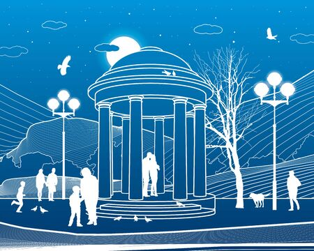 Park infrastructure illustration. Garden house. People walk and relax in nature. Evening city scene. White lines on blue background. Vector design art Illusztráció