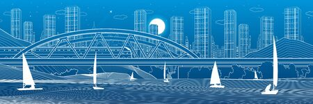 Railway bridge over the river. Train rides. Sailing boats on the water. Outline urban illustration. Evening city scene. Town cityscape. White lines on blue background. Vector design art Illusztráció