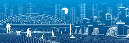 Hydro power plant. River dam. Train rides on bridge. People stay at shore. City infrastructure industrial illustration panorama. Urban life. White lines on blue background. Vector design art Illusztráció