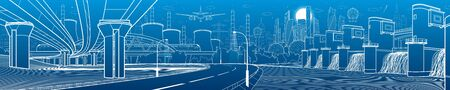 Hydro power plant. River dam. Train rides on bridge. Illumination highway. Car overpass. City infrastructure industrial illustration panorama. Urban life. White lines on blue background. Vector design Vettoriali