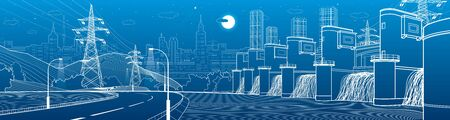 Hydro power plant. River dam. Renewable energy sources. Illumination highway. City infrastructure industrial illustration panorama. Urban life. White lines on blue background. Vector design  イラスト・ベクター素材