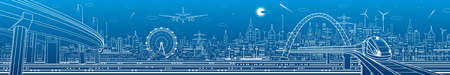 Urban panorama. Modern city skyline outline illustration. Train rides on bridge. Illumination highway. Car overpass. Town infrastructure. White lines on blue background. Vector design art