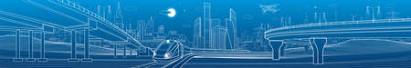 Urban large panorama. Modern city skyline outline illustration. Train rides on bridge. Illumination highway. Car overpass. Town infrastructure. White lines on blue background. Vector design art  イラスト・ベクター素材