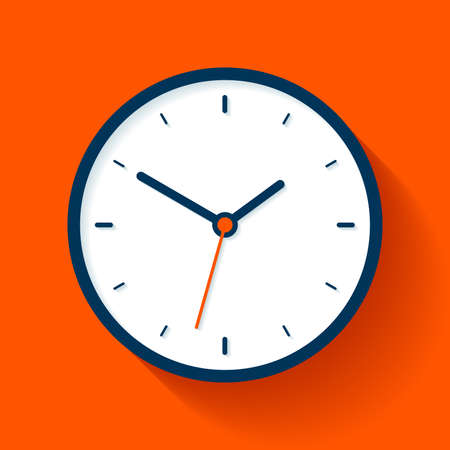 Clock icon in flat style, timer on orange background. Business watch. Vector design element for you project  イラスト・ベクター素材