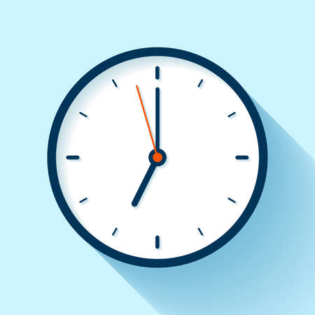 Clock icon in flat style, timer on blue background. Business watch. Vector design element for you project  イラスト・ベクター素材