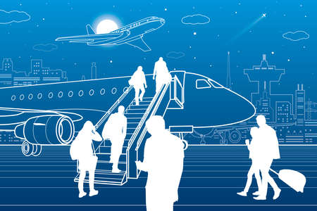 Passengers board the plane. Contour transport illustration. City airport infrastructure. Vector design art
