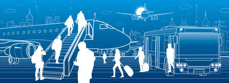 Airport scene. The plane is on the runway. Aviation transportation infrastructure. Airplane fly, people get on the aircraft of bus. Night city on background, vector design art