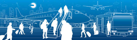 Airport scene. The plane is on the runway. Aviation transportation infrastructure scene. Airplane fly, Passengers board the plane of bus. Night city at background, vector design art