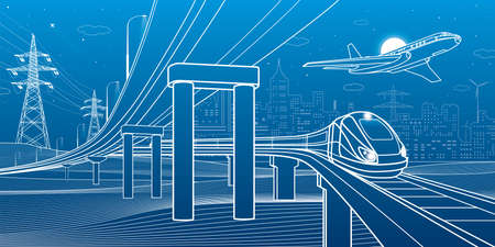 Outline road bridge. Car overpass. Train rides. Airplane fly. City Infrastructure and transport illustration. Urban scene. Vector design art. White lines on blue background Vecteurs