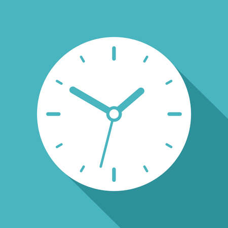 Clock icon in flat style, round white timer on color background. Business watch. Vector design element for you project