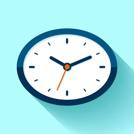 Clock icon in flat style, oval timer on blue background. Business watch. Vector design element for you project