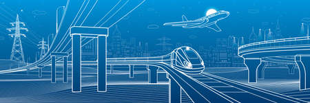 Outline road bridge. Car overpass. Train rides. Airplane fly. City Infrastructure and transport illustration. Urban scene. Vector design art. White lines on blue background  イラスト・ベクター素材