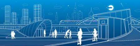 Outline city life illustration panorama. Evening town urban scene. People walking. Train rides. Modern architecture. White lines on blue background. Vector design art  イラスト・ベクター素材