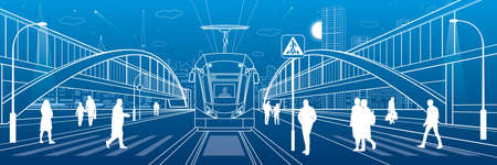 City scene, people walk down the street, passengers leave tram, night city, Illuminated highway, transitional arch bridge at background. Outline vector infrastructure illustration