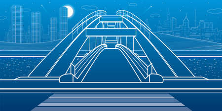 Pedestrian bridge over the river. Night city at background. Infrastructure illustration. Vector design art