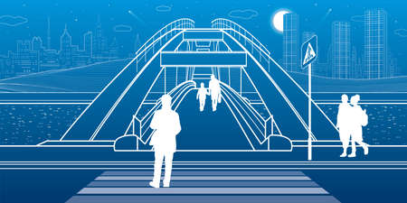Pedestrian bridge over the river. Night city at background. Infrastructure illustration. Vector design art