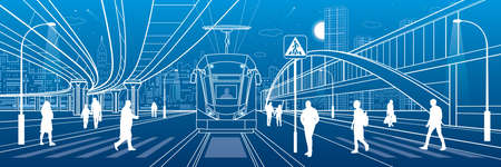 City scene, people walk down the street, passengers leave tram, night city, Illuminated highway, transitional arch bridge at background. Overpass road. Outline vector infrastructure illustration