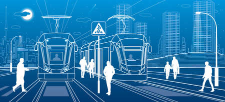 City scene, people walk down the street, passengers leave tram, night city, Illuminated highway, transitional arch bridge at background. Electric transport. Outline vector infrastructure illustration