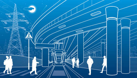 City scene, people walk down the street, tram rides, night city, automobile bridge at background. Electric transport. Outline vector infrastructure illustration  イラスト・ベクター素材