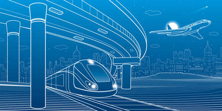 City scene. Automobile bridge, overpass. Airplane fly. Train rides. Night city at background. Electric transport. Outline vector infrastructure illustration