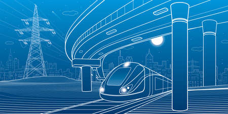 City scene. Automobile bridge, overpass. Train rides. Night city at background. Electric transport. Outline vector infrastructure illustration
