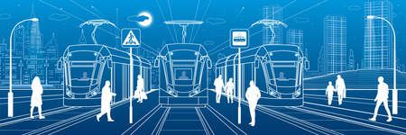 Electric transport illustration. City scene, people walk down the street, passengers leave tram, night city, Illuminated highway. Outline vector infrastructure image