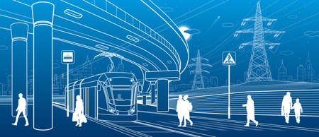 City scene. Automobile bridge, overpass. Tram rides. People walking at street. Night city on background. Electric transport. Power line. Outline vector infrastructure illustration
