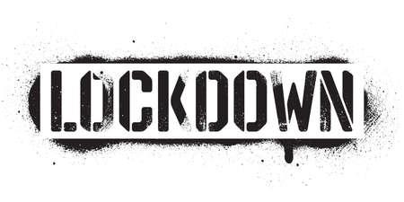 Stencil Lockdown inscription. Black danger graffiti print on white background. Vector design street art