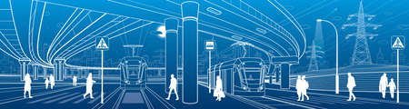 City scene. Automobile bridge, overpass. Tram rides. People walking at street. Night city on background. Electric transport. Power line. Outline vector infrastructure illustration. White lines sketch.