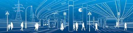 Town scene. Automobile bridge, overpass. Passengers get off the bus and tram. Night city on background. City transport. Power line. Outline vector infrastructure illustration. White outline sketch.