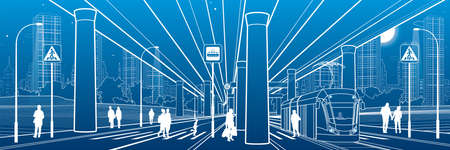 City scene. Urban environment. Automobile bridge, overpass. Tram rides. People walking at street. Night city on background. Electric transport. Outline vector infrastructure illustration. White lines